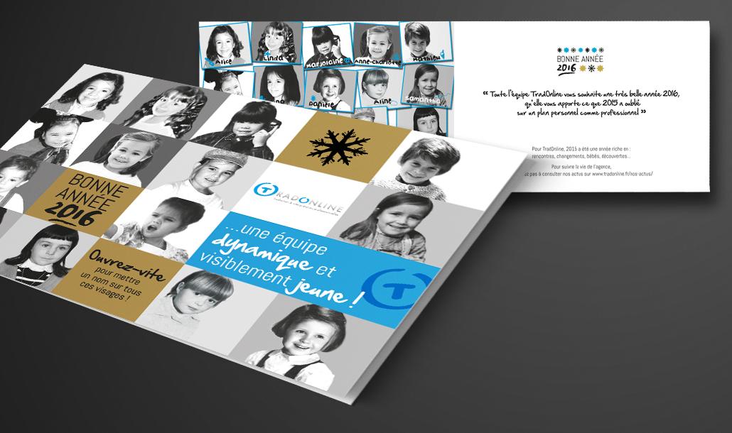 Création de carte de vœux et outils de papeterie Tradonline Laval - Studio graphique Vert Anis