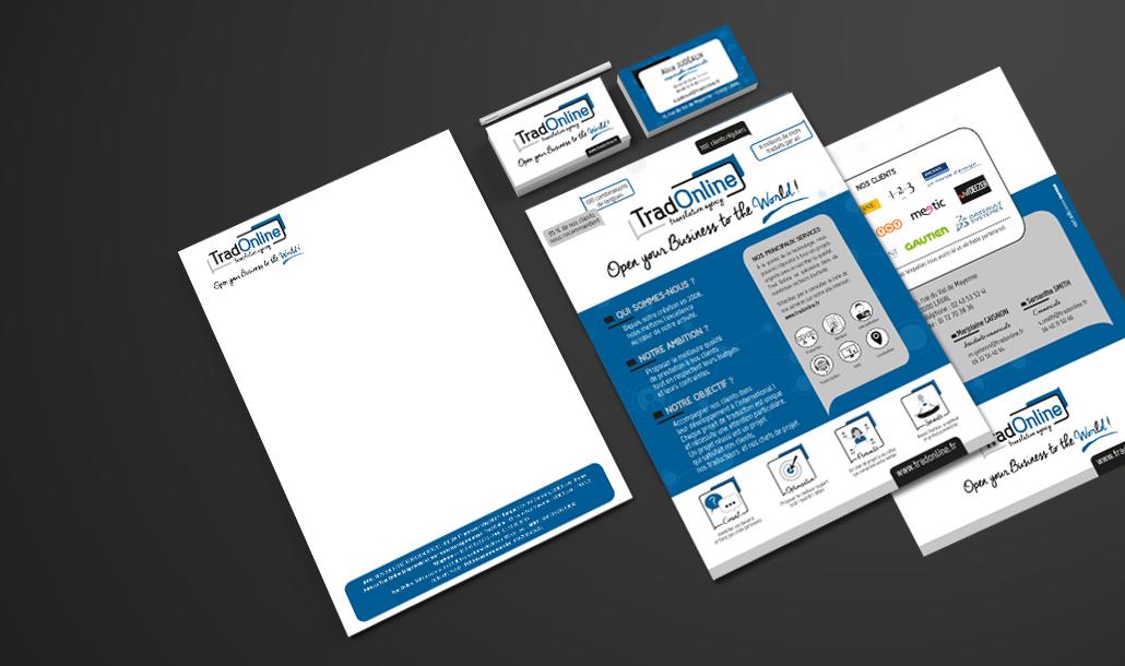 Création de carte de visite et outils de papeterie Tradonline Laval - Studio graphique Vert Anis